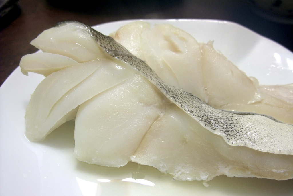Raw codfish - just the way it looks after soaking it in water