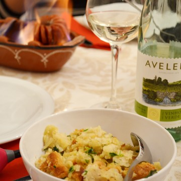 Portuguese Chorizo barbecued and migas com coentros - a portuguese speciality