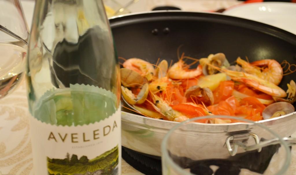 Cataplana and green wine, Algarve, Portugal