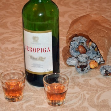 Chestnuts and wine on the table - autumn portuguese tradition